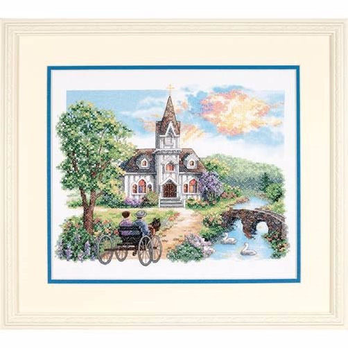 3227 Набор для вышивки крестом «Сельская Церковь» • «Country Church» DIMENSIONS