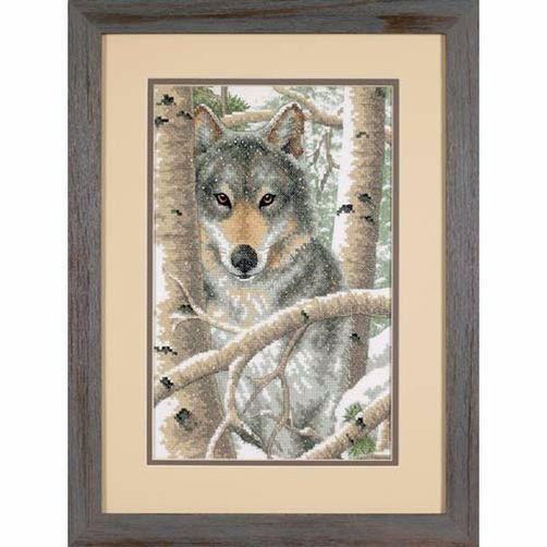 """03228 • Набор для вышивания крестом """"Зимний волк"""" • """"Wintry Wolf"""" DIMENSIONS"""