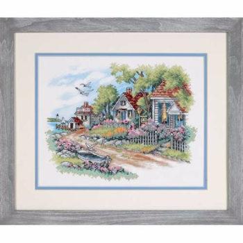 """03240 • Набор для вышивания крестом """"Коттеджи на берегу моря"""" • """"Cottages by the Sea"""" DIMENSIONS"""