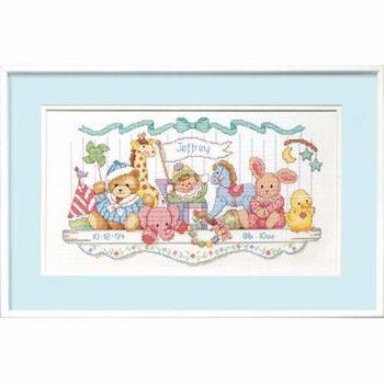 """03729 • Набор для вышивания крестом """"Полка с игрушками. Новорожденный"""" • """"Toy Shelf Birth Record"""" DIMENSIONS"""