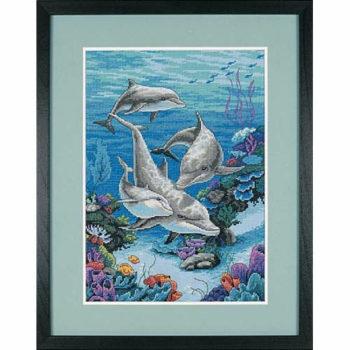 """03830 • Набор для вышивания крестом """"Царство дельфинов"""" • """"The Dolphins' Domain"""" DIMENSIONS"""