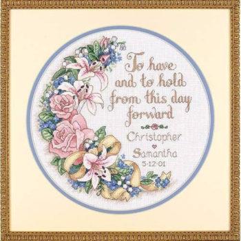"""03892 • Набор для вышивания крестом """"Иметь и сохранить. Свадебный декор"""" • """"To Have and To Hold Wedding Record"""" DIMENSIONS"""