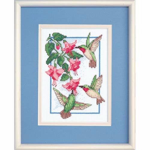 """06642 • Набор для вышивания крестом """"Колибри и фуксия"""" • """"Hummingbirds and Fuchsia"""" DIMENSIONS"""