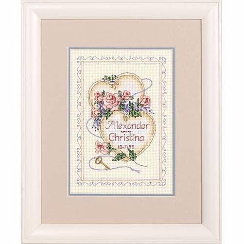 """06730 • Набор для вышивания крестом """"Соединенные Сердца"""" • """"United Hearts Wedding Record"""" DIMENSIONS"""