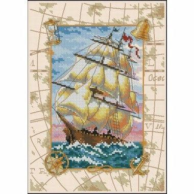 """06847 • Набор для вышивания крестом """"Путешествие по морю"""" • """"Voyage at Sea"""" DIMENSIONS"""