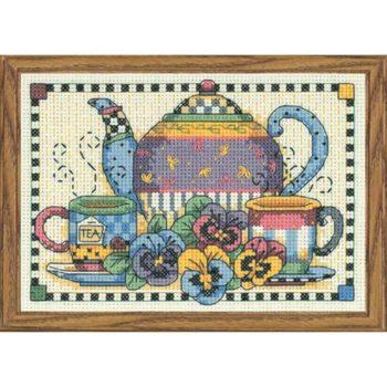 """06877 • Набор для вышивания крестом """"Время вечернего чая"""" • """"Teatime Pansies"""" DIMENSIONS"""