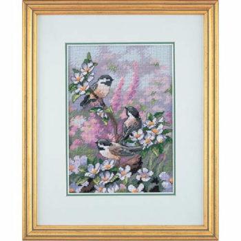 """06884 • Набор для вышивания крестом """"Весенние синички"""" • """"Chickadees in Spring"""" DIMENSIONS"""