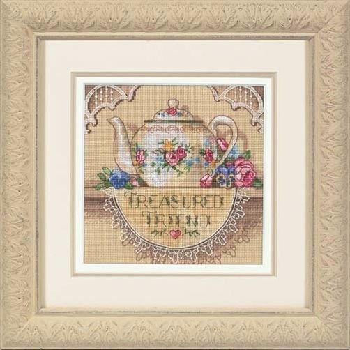 """06904 • Набор для вышивания крестом """"Драгоценный друг. Чайничек"""" • """"Treasured Friend Teapot"""" DIMENSIONS"""