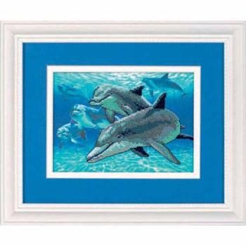 """06944 • Набор для вышивания крестом """"Дельфины глубокого моря"""" """"Deep Sea Dolphins"""" DIMENSIONS"""