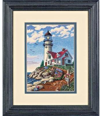 """06958 • Набор для вышивания крестом """"Маяк на утесе"""" • """"Beacon at Rocky Point"""" DIMENSIONS"""