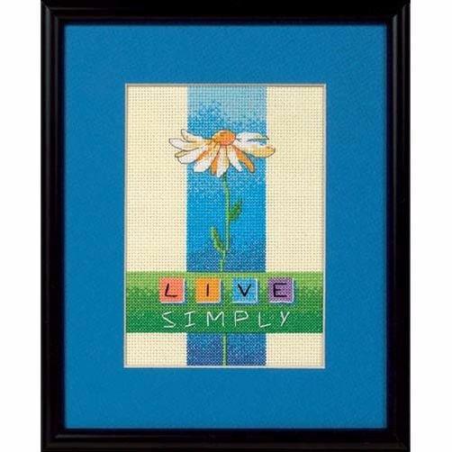 """06975 • Набор для вышивания крестом """"Жить просто"""" • """"Live Simply"""" DIMENSIONS"""