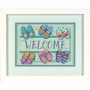"""06978 • Набор для вышивания крестом """"Добро пожаловать! Коврик"""" • """"Welcome Mat"""" DIMENSIONS"""