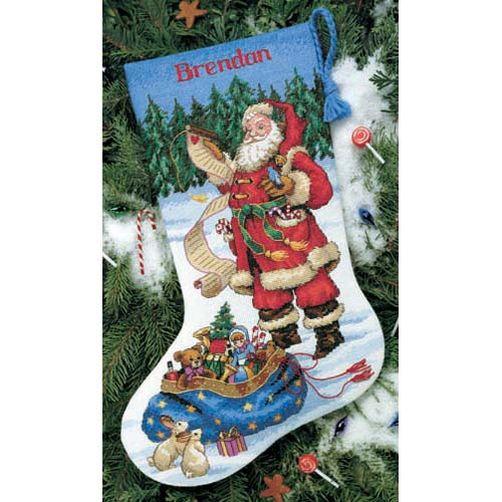 """08645 • Набор для вышивания крестом """"Санта проверяет свой список. Чулок"""" • """"Checking his list Stocking"""" DIMENSIONS"""