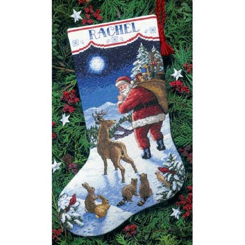 """08683 • Набор для вышивания крестом """"Прибытие Санты. Чулок"""" • """"Santa's Arrival Stocking"""" DIMENSIONS"""