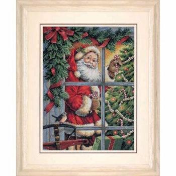 """08734 • Набор для вышивания крестом """"Конфетка для Санты"""" • """"Candy Cane Santa"""" DIMENSIONS"""