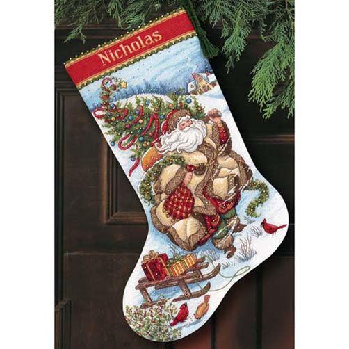 """08752 • Набор для вышивания крестом """"Путешествие Санты. Чулок"""" • """"Santa's Journey Stocking"""" DIMENSIONS"""