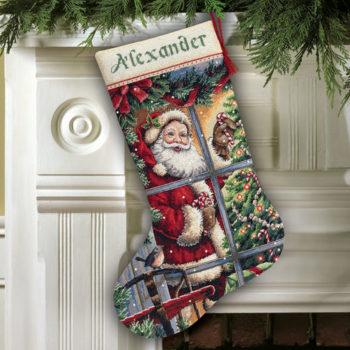 """08778 • Набор для вышивания крестом """"Карамельная трость. Чулок"""" • """"Candy Cane Santa Stocking"""" DIMENSIONS"""