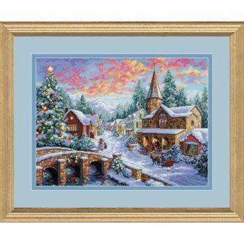 """08783 • Набор для вышивания крестом """"Праздничная деревня"""" • """"Holiday Village"""" DIMENSIONS Gold Collection"""