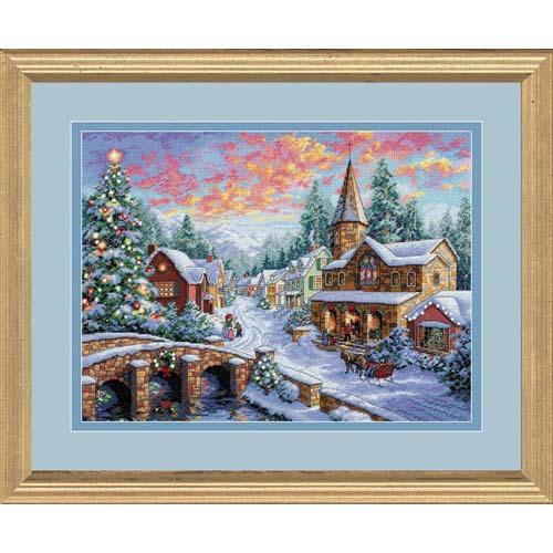 8783 Набор для вышивки крестом «Праздничная деревня» • «Holiday Village» DIMENSIONS Gold Collection