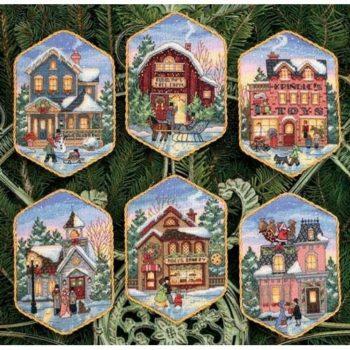 """08785 • Набор для вышивания крестом """"Рождественские украшения. Праздничные домики"""" • """"Christmas Village Ornaments"""" DI"""