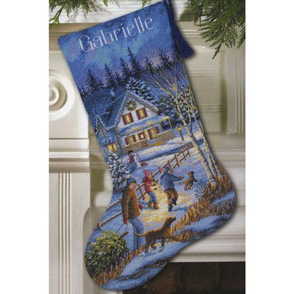 """08805 • Набор для вышивания крестом """"Рождественское веселье. Чулок"""" • """"Christmas Eve Fun Stocking"""" DIMENSIONS"""