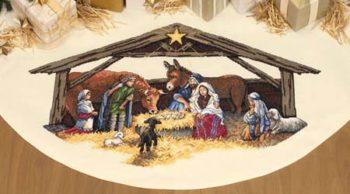 "08814 • Набор для вышивания крестом ""Сцена Рождества. Юбочка под елку"" • ""Nativity Scene Tree Skirt"" DIMENSIONS"