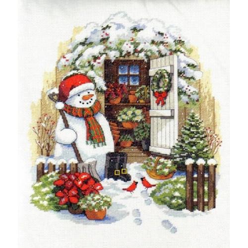 """08817 • Набор для вышивания крестом """"Садовый снеговик"""" • """"Garden Shed Snowman"""" DIMENSIONS"""