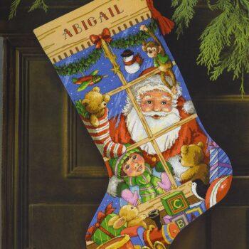 """08818 • Набор для вышивания крестом """"Игрушки Санты. Чулок"""" • """"Santa's Toys Stocking"""" DIMENSIONS Gold Collection"""