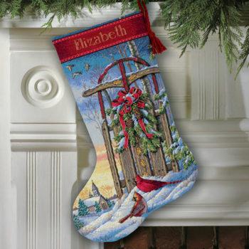 """08819 • Набор для вышивания крестом """"Рождественские сани. Чулок"""" • """"Christmas Sled Stocking"""" DIMENSIONS"""