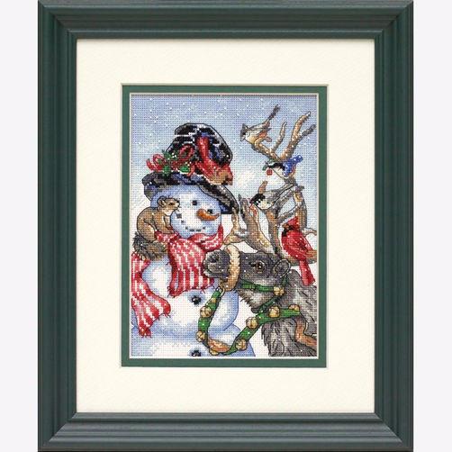 """08824 • Набор для вышивания крестом """"Снеговик и олень"""" • """"Snowman & Reindeer"""" DIMENSIONS"""