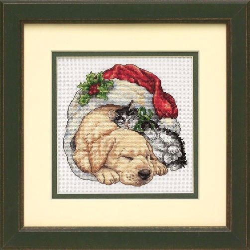 """08826 • Набор для вышивания крестом """"Домашние животные рождественским утром"""" • """"Christmas Morning Pets"""" DIMENSIONS"""