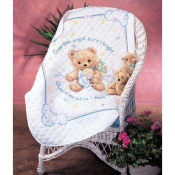 """13065 • Набор для вышивания одеяла крестом """"Пышный мишка"""" • """"Cuddly Bear Quilt"""" DIMENSIONS"""