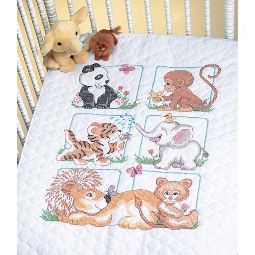 """13083 • Набор для вышивания одеяла крестом """"Детеныши"""" • """"Animal Babes Quilt"""" DIMENSIONS"""
