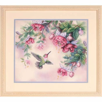 "13139 • Набор для вышивания крестом ""Колибри и фуксии"" • ""Hummingbird & Fuchsias"" DIMENSIONS"