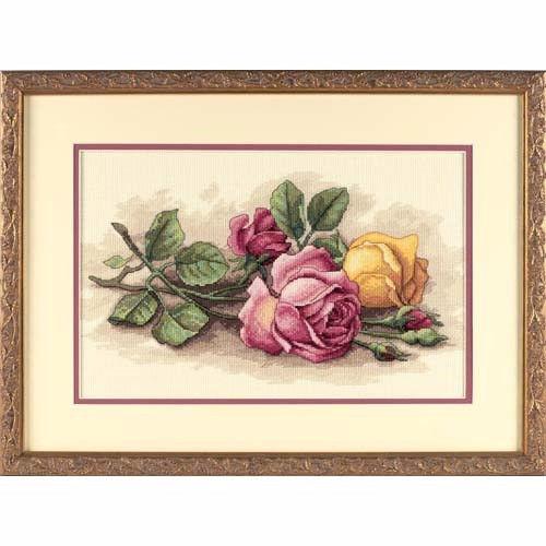 """13720 • Набор для вышивания крестом """"Срезанные розы"""" • """"Rose Cuttings"""" DIMENSIONS"""