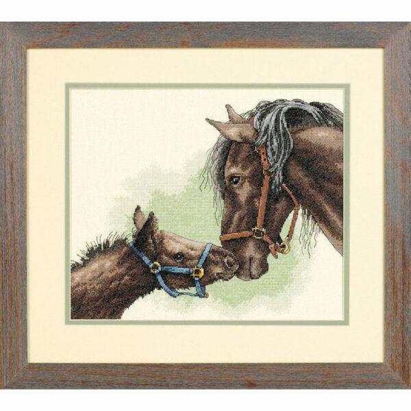 """13722 • Набор для вышивания крестом """"Лошадь и жеребенок"""" • """"Mother and Colt"""" DIMENSIONS"""