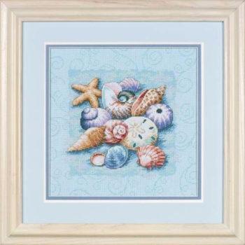 """13725 • Набор для вышивания крестом """"Ракушки на голубом фоне"""" • """"Shells on Blue"""" DIMENSIONS Gold Collection"""