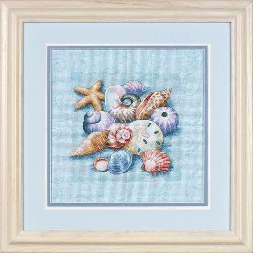 13725 Набор для вышивки крестом «Ракушки на голубом фоне» • «Shells on Blue» DIMENSIONS Gold Collection