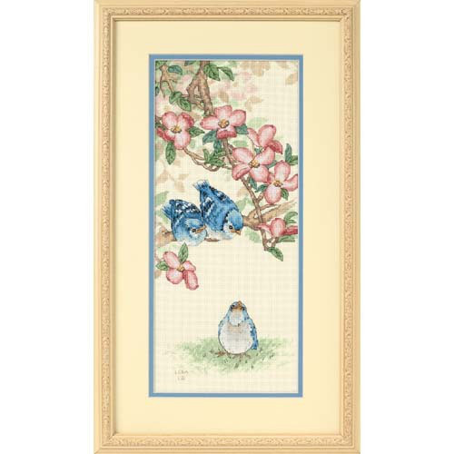 13728 Набор для вышивки крестом «Птенцы голубой сойки» • «Baby Blue Jays» DIMENSIONS
