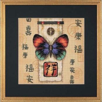 """35034 • Набор для вышивания крестом """"Восточная бабочка"""" • """"Oriental Butterfly"""" DIMENSIONS"""