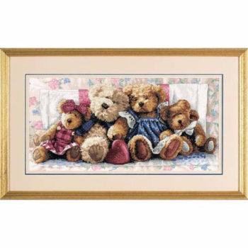 """35039 • Набор для вышивания крестом """"Полоса любви. Мишки"""" • """"A Row of Love"""" DIMENSIONS Gold Collection"""