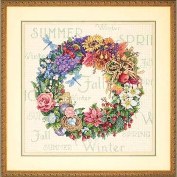 """35040 • Набор для вышивания крестом """"Венок всех времён года"""" • """"Wreath of All Seasons"""" DIMENSIONS Gold Collection"""