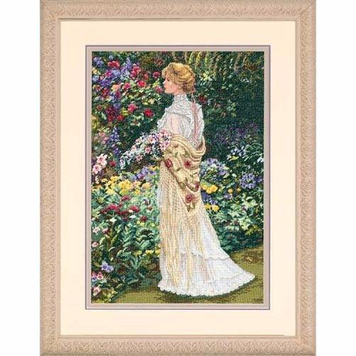 """35119 • Набор для вышивания крестом """"В ее саду"""" • """"In Her Garden"""" DIMENSIONS Gold Collection"""