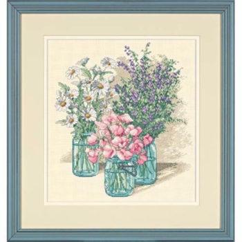 """35122 • Набор для вышивания крестом """"Трио полевых цветов"""" • """"Wildflower Trio"""" DIMENSIONS Gold Collection"""