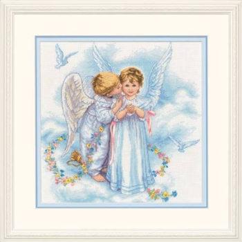 "35134 • Набор для вышивания крестом ""Поцелуй ангела"" • ""Angel Kisses"" DIMENSIONS"