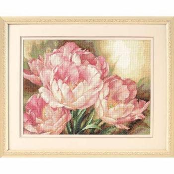 """35175 • Набор для вышивания крестом """"Трио тюльпанов"""" • """"Tulip Trio"""" DIMENSIONS Gold Collection"""