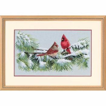 """35178 • Набор для вышивания крестом """"Зимние птички-кардиналы"""" • """"Winter Cardinals"""" DIMENSIONS"""