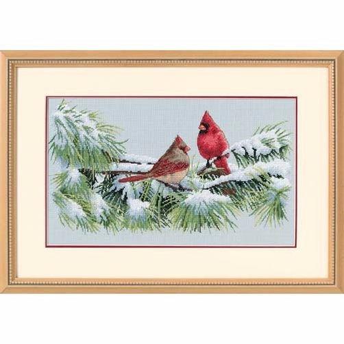 35178 Набор для вышивки крестом «Зимние птички-кардиналы» • «Winter Cardinals» DIMENSIONS