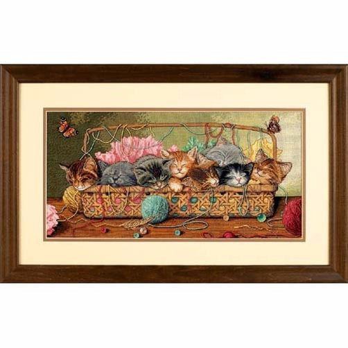 """35184 • Набор для вышивания крестом """"Котята в корзинке"""" • """"Kitty Litter"""" DIMENSIONS Gold Collection"""