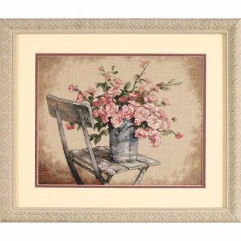 """35187 • Набор для вышивания крестом """"Розы на белом стуле"""" • """"Roses on White Chair"""" DIMENSIONS"""